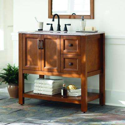 Catalina 36.5 in. W Vanity in Amber with Stone Effects Vanity Top in Sienna with White Sink
