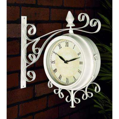15 in. x 15 in. Double-Sided Metal Hanging Clock