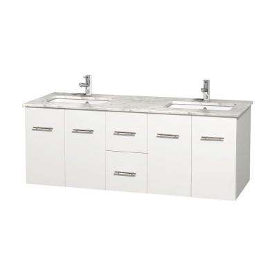 Centra 60 in. Double Vanity in White with Marble Vanity Top in Carrara White and Under-Mount Sinks