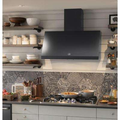 Cafe 36 in. Commercial Convertible Wall Mount Range Hood with Light in Black Slate, Fingerprint Resistant