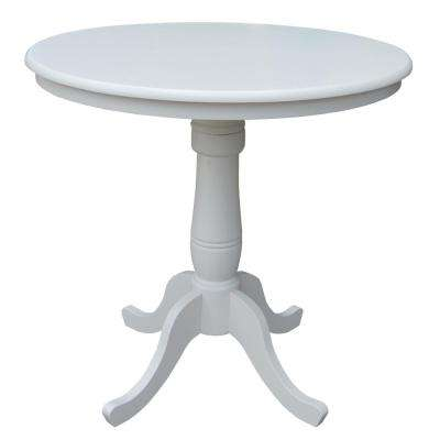 Solid Wood 36 in. Round 36 in. High Pedestal Table in Linen