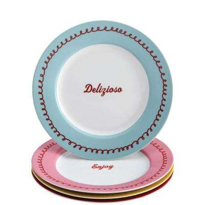 Serveware 4-Piece Porcelain Dessert Plate Set in Icing and Quotes Print