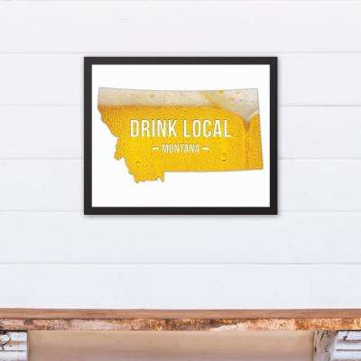 "20 in. x 16 in. ""Montana Drink Local Beer  "" Printed Framed Canvas Wall Art"