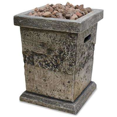 11 in. W x 15 in. H Decorative Faux Stone MGO LP Gas Fire Pit with Electronic Ignition and Lava Rocks