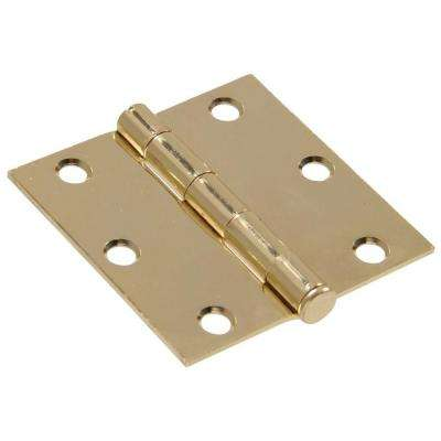3 in. Brass Residential Door Hinge with Square Corner Removable Pin Full Mortise (9-Pack)