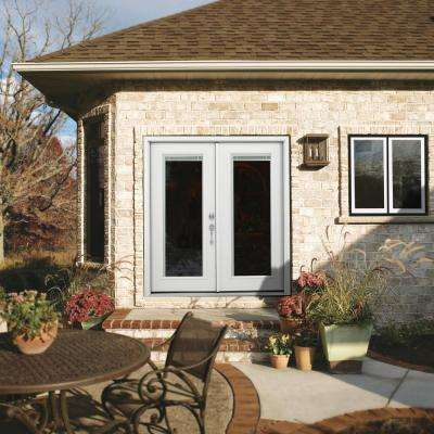 60 in. x 80 in. Primed Steel Right-Hand Inswing Full Lite Stationary/Active Patio Door w/Internal Blinds