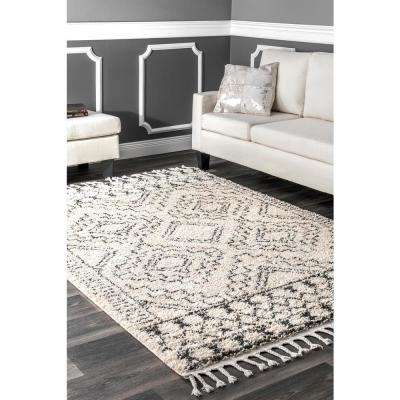 Vasiliki Moroccan Tribal Tassel Off White 2 ft. 8 ft. x 8 ft. ft. Runner Rug