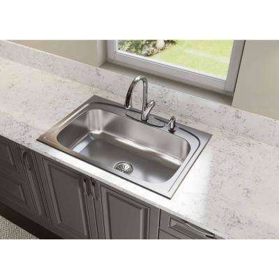 Pergola Drop-In Stainless Steel 33 in. 4-Hole Single Bowl Kitchen Sink