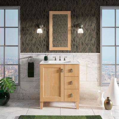 Poplin 30 in. W Vanity in Khaki White Oak with Vitreous China Vanity Top in White Impressions with White Basin