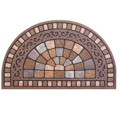 Half Round Stone 18 in. x 30 in. Door Mat