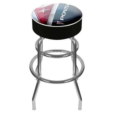 Black Pontiac 31 in. Chrome Swivel Cushioned Bar Stool
