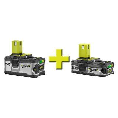 ONE+ 18-Volt High Capacity Lithium+ Battery with Free 18-Volt Compact Lithium+ Battery