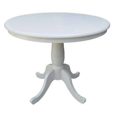 Solid Wood 36 in. Round 30 in. High Pedestal Table in Linen