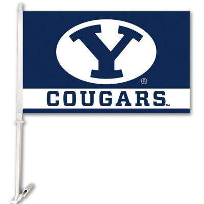 NCAA 11 in. x 18 in. Brigham Young 2-Sided Car Flag with 1-1/2 ft. Plastic Flagpole (Set of 2)