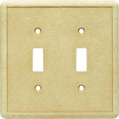 2-Gang 2 Toggle Cast Stone Wall Plate, Gold