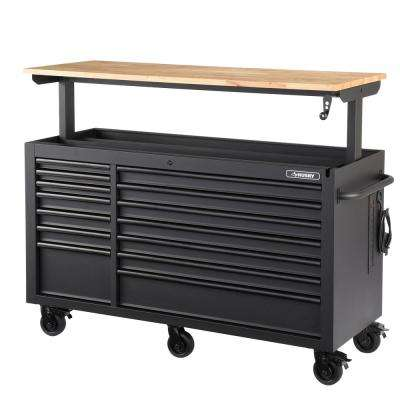 62 in. 14-Drawer Mobile Workbench with Adjustable-Height Solid Wood Top, Matte Black