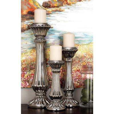 Large: 21 in; Medium: 15 in; Small: 11 in. Silver Ceramic Elongated and Rigged Candle Holders (Set of 3)