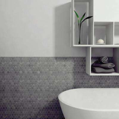 Crag Hexagon Black 11-1/8 in. x 11-1/8 in. x 8 mm Slate Mosaic Tile