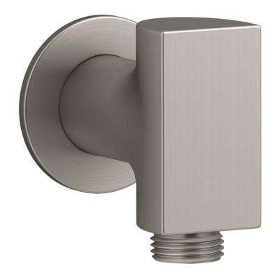 Exhale 1/2 in. Metal 90-Degree NPT Wall-Mount Supply Elbow with Check Valve in Vibrant Brushed Nickel