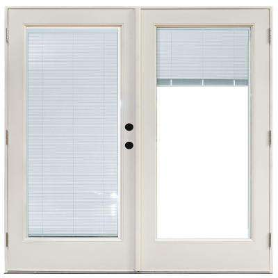 70-3/4 in. x 79 1/4 in. Fiberglass White Left-Hand Outswing Hinged Patio Door with Blinds Between Glass