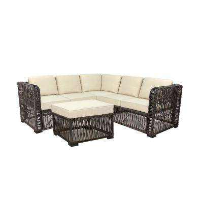 Grand Isle 4-Piece Wicker Patio Sectional Seating Set with Beige Cushions