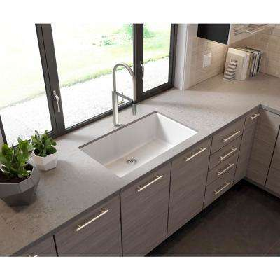 Glacier Bay Drop-in/Undermount Granite Composite 33 in. Single Bowl Kitchen Sink in White