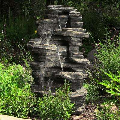 39 in. Cascading Rock Falls Water Fountain with LED Lights
