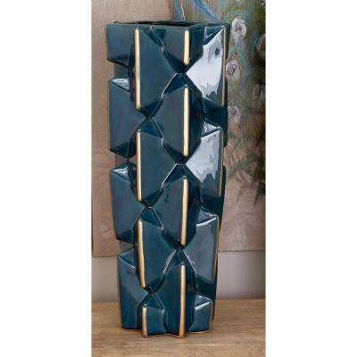 20 in. Modern Ceramic Bowtie in Blue and Gold Decorative Vase