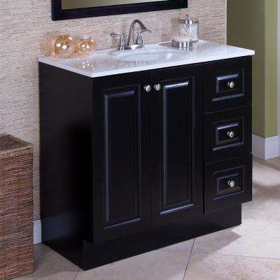 Northwood 36 in. W x 19 in. D Bathroom Vanity in Dusk with Solid Surface Vanity Top in Silver Ash with White Sink