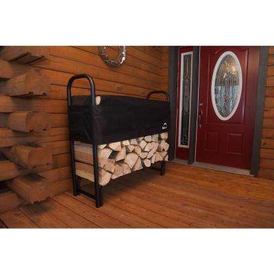 4 ft. H x 4 ft. D x 1 ft. W Firewood Rack with Black Powder-Coated Finish and 2-Way Adjustable Polyester Cover