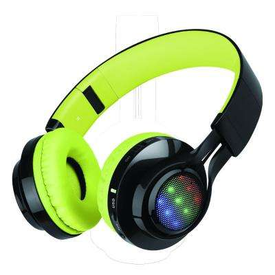 Bluetooth Wireless Foldable Headphones with Mic and Remote Control, Lime Green
