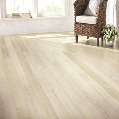 Hand Scraped Wire Brushed Strand Woven White 3/8 in. T x 5-1/8 in. W x 72 in. L Engineered Click Bamboo Flooring