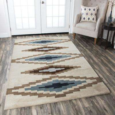 Tumble Weed Loft Beige Southwestern Hand Tufted Wool 8 ft. x 10 ft. Area Rug