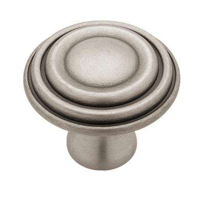 Circles and Scrolls 1-1/2 in. Brushed Satin Pewter Ringed Cabinet Knob