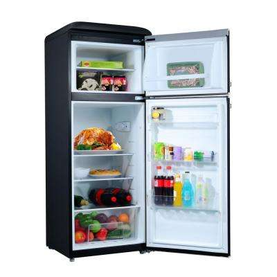 7.6 cu.ft. Retro Mini Refrigerator with Dual Door and True Freezer in Black