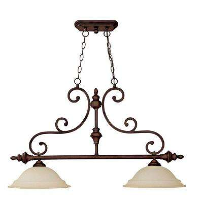 2-Light Burnished Bronze Island Lighting Fixture with Mist Scavo Glass