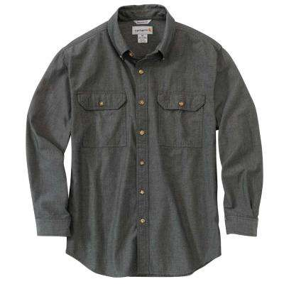 Men's Chambray Cotton Long-Sleeve Wovens
