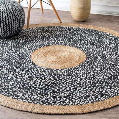 Lesha Natural Fiber Jute Black 8 ft. x 8 ft. Round Rug
