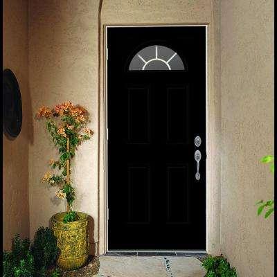 36 in. x 80 in. Fan Lite Black w/ White Interior Steel Prehung Right-Hand Outswing Front Door w/Brickmould