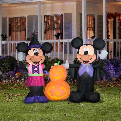 4.5 ft. Pre Lit Inflatable Mickey and Minnie with Pumpkins-Scene-Disney Air-Blown