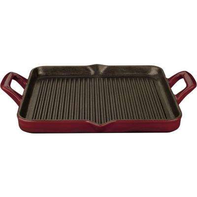 1 qt. Cast Iron Rectangular Grill Pan with Ruby Enamel Finish