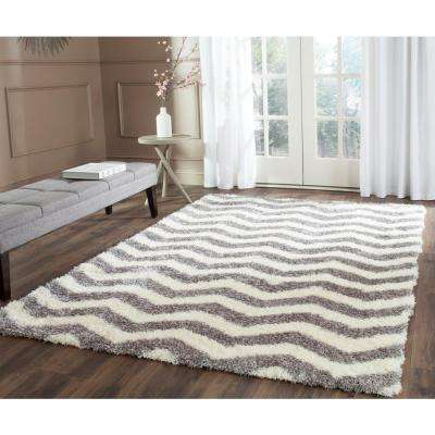 Montreal Shag Ivory/Gray 8 ft. x 10 ft. Area Rug