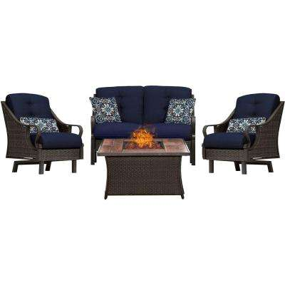 Ventura 4-Piece All-Weather Wicker Patio Conversation Set with Wood Grain-Top Fire Pit with Navy Blue Cushions