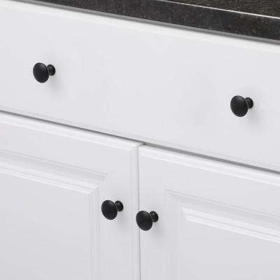 1-1/8 in. Matte Black Contemporary and Modern Knob