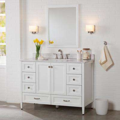 Claxby 49 in. W x 22 in. D Bathroom Vanity in White with Stone Effect Vanity Top in Pulsar with White Sink