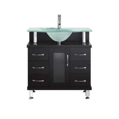 Vincente 31.89 in. W x 21.65 in. D x 33.54 in. H Espresso Vanity With Glass Vanity Top With Aqua Round Basin