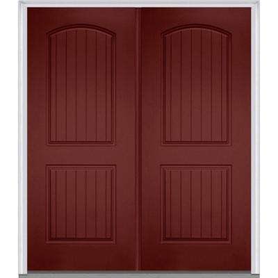 72 in. x 80 in. Left-Hand Inswing 2-Panel Archtop Planked Classic Painted Fiberglass Smooth Prehung Front Door