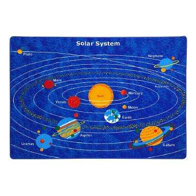 Paradise Solar System Design Blue 4 ft. 11 in. x 6 ft. 10 in. Area Rug