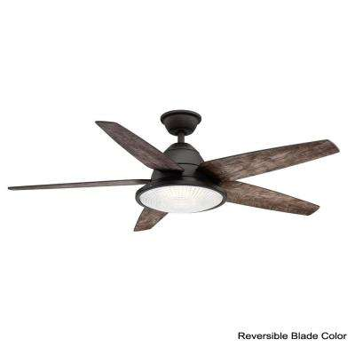 Berwick 52 in. LED Espresso Bronze Ceiling Fan with Light and Remote Control works with Google and Alexa