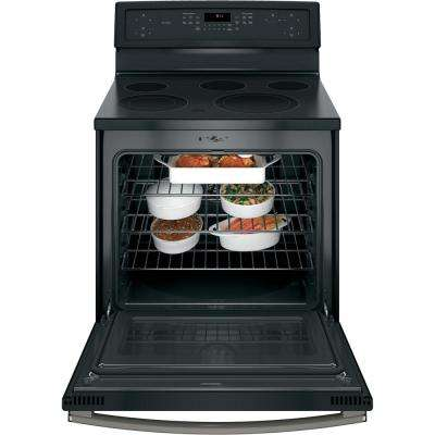 Profile 30 in. 5.3 cu. ft. Electric Range with Self-Cleaning Convection in Black Slate, Fingerprint Resistant